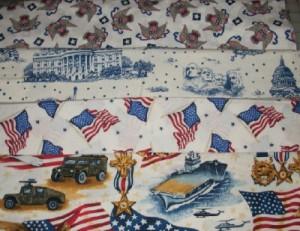 white patriotic fabric stash