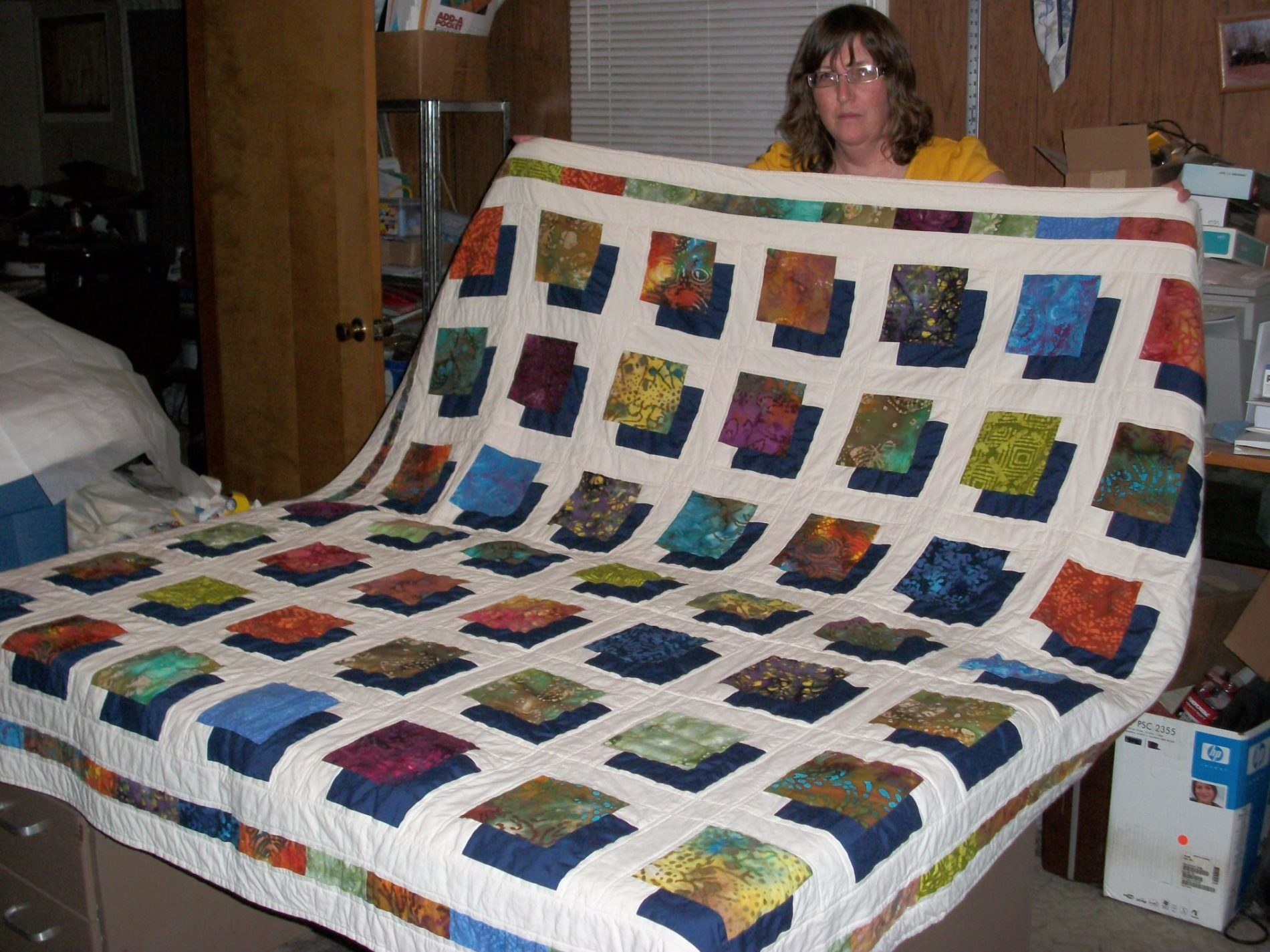 Batik Shadowbox Quilt Finish The Carpenter s Daughter Who Quilts
