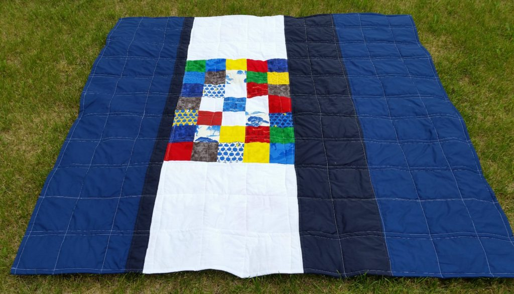 Nancy Drew quilt back on ground